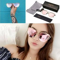 ROSE GOLD Cat Eye Ladies Mirrored Sunglasses Designer SojoS