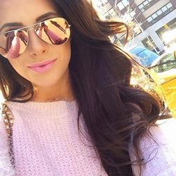 Rose Gold Pink Mirrored Aviator Sunglasses Fashion Polarized