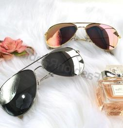 Rose Gold Silver Mirror Aviator Sunglasses Polarized Lens Wo