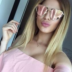 Rose Pink Large Oversized Sunglasses Cat Eye Flat Mirror Len