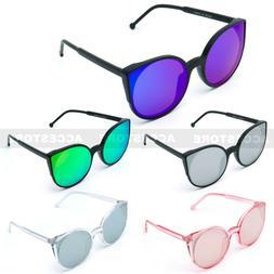 Large Oversized Cat Eye Sunglasses Mirrored Lens Plastic Fra