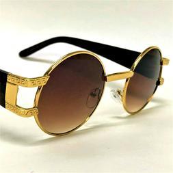 Round Fashion Retro Vintage New Designer Shades  Gold Metal