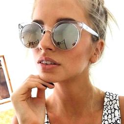 Round Oval Sunglasses Silver Mirrored Lens Transparent Frame