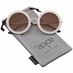SOJOS Round Oversized Rhinestone Sunglasses for Women Diamon