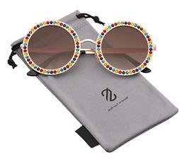 SOJOS Round Oversized Rhinestone Sunglasses for Women Festiv