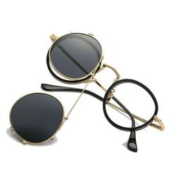 Round Polarized Clip-on Sunglasses UV Eyeglasses Frames Vint