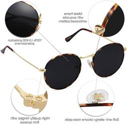 Round Polarized Sunglasses for Women Men Vintage Retro Frame