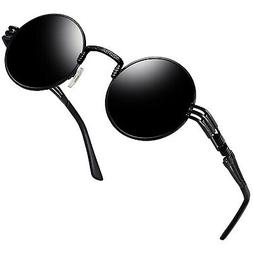 Joopin-Round Retro Polaroid Sunglasses Driving Polarized Gla