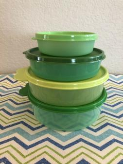 Tupperware Round Storage Containers Set of 4 Shades of Green