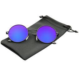 Round Sunglasses Vintage Mirror Lens New Men Women Fashion F