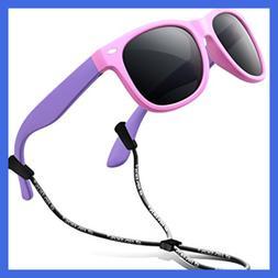RIVBOS Rubber Flexible Kids Polarized Sunglasses Wayfarer St