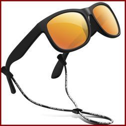 Rubber Kids Polarized Sunglasses W Strap Glasses Shades For