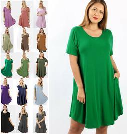 S-3X Premium Soft Knit Casual T-Shirt Dress Solids Basic Sho