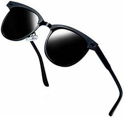 Joopin Semi Rimless Polarized Sunglasses Women Men, Black Me