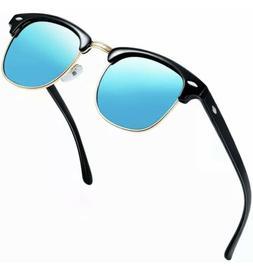 Joopin Semi Rimless Polarized Sunglasses Women Men Retro Vin
