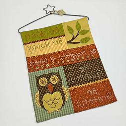 Shades of Autumn Owl Wise Happy Grateful Embroidered Bannere