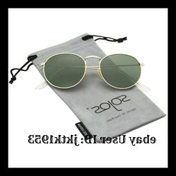 163ad610f5 SOJOS Small Round Polarized Sunglasses Mirrored Lens Unisex