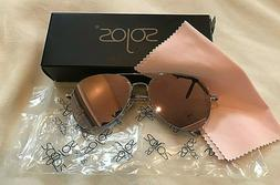 SOJOS Classic Aviator Mirrored Pink Lens Sunglasses Metal Fr