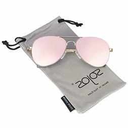 SOJOS Classic Aviator Mirrored Flat Lens Sunglasses Metal Fr