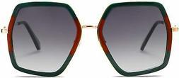 SOJOS Oversized Metal Frame UV400 Sunglasses for Women SJ211