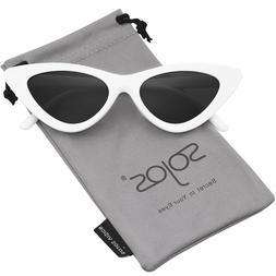 SOJOS Retro Vintage Narrow Cat Eye Sunglasses for women Clou