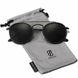 Sojos Small Round Polarized Sunglasses Double Bridge Frame M