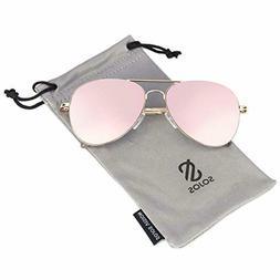SOJOS Women Classic Aviator Flat Lens Sunglasses Gold Frame