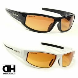 SPORT WRAP HD NIGHT DRIVING VISION SUNGLASSES YELLOW HIGH DE