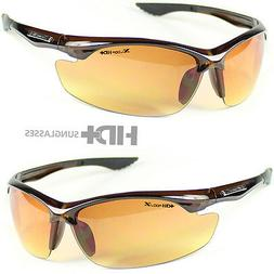 SPORT WRAP HD NIGHT DRIVING VISION SUNGLASSES BROWN HIGH DEF