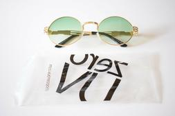 zeroUV Steampunk Sunglasses Gold Metal with Green Oversize R