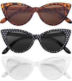 Stylish Fashion Vintage Cat Eye Sunglasses UV Protection 3 P