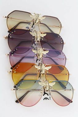 Sunglasses Big Bee Metal New Vintage Oversize Gradient Shade