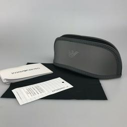 Emporio Armani Sunglasses Case Only + Cloth, Papers Gray Zip