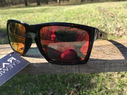 RAZE Eyewear Sunglasses Journey mirrored red lens black fram
