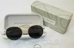 WearMe Pro Sunglasses Reflective Black Lens Gold Frame Round