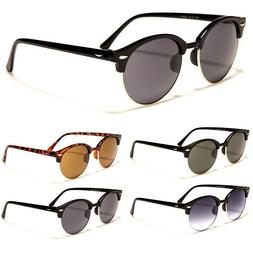 Retro Optix Sunglasses - Round Lens - Retro Half Rimmed Fram