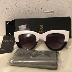 Sojos Sunglasses White/Black Retro Fashion Pointy Eyes, NIB