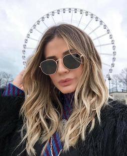 Sunglasses Women Men HEXAGONAL Flat Lens Ocean Colors Metal