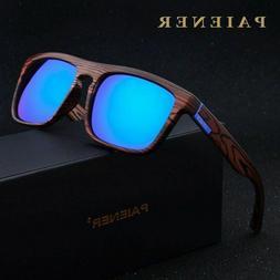 Sunglasses Women Men Retro Imitation Bamboo Wood Polarized S
