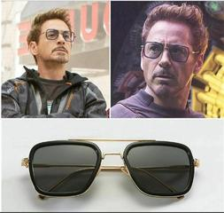 Tony Stark Sunglasses Men Square Metal Avengers Iron Man Sun