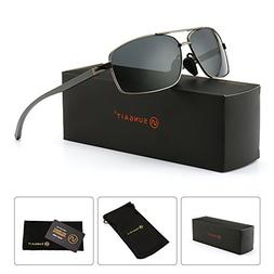 SUNGAIT Ultra Lightweight Rectangular Polarized Sunglasses 1