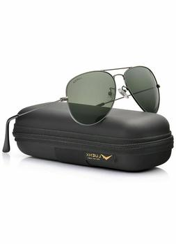 Luenx Unisex Aviator Sunglasses Mens Women 60mm with Case -