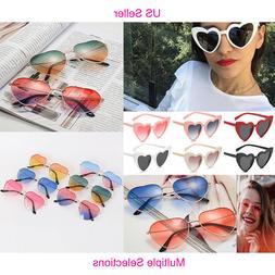 US Women Lovely Heart Shape Sunglasses Halloween Cat Eye Ret