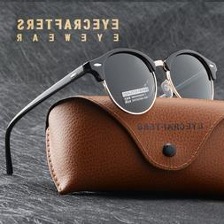 Vintage Half Metal Frame Clubround Sunglasses Men Women Retr