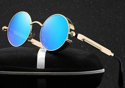 Vintage Polarized Steampunk Sunglasses Goggles Round Mirrore