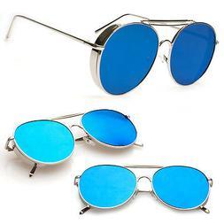 Vintage Retro Mirror Round Sun Glasses Metal Goggles Steampu