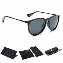 Vintage Retro Round Sunglasses For Women Erika Black Frame U