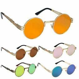 Vintage Retro Steampunk Sunglasses Luxury Designer Round Cir