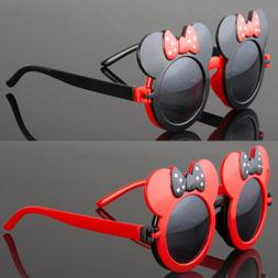 Vintage Round Mouse Ears Sunglasses For Girls Kids Child Tod