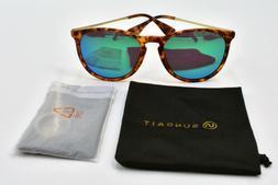 SUNGAIT Vintage Round Tortoise Sunglasses for Women Classic